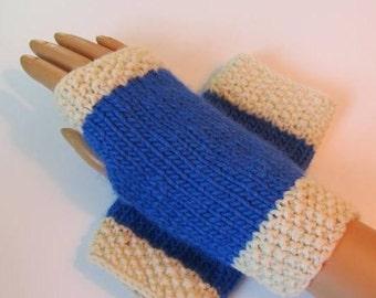 Royal Blue, White Alpaca and Wool Fingerless Texting Mittens, Handwarmers, Hand Warmers, Gloves, Handmade