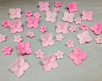Fondant Hydrangea Flowers and Blossom Flower Cupcake Cake Decorating Set