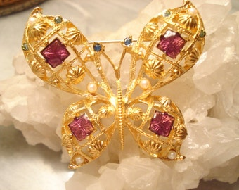 Vintage AVON Large Jeweled Butterfly On Gold Tone