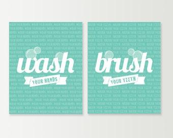 Bathrom Decor - Wash your Hands Brush your Teeth - Bathroom Wall Art Set - Bath Prints - Bath Wall Art - Modern Bathroom Decor Choose Colors