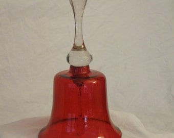 Vintage Antique Cranberry Glass Bell with Hand Blown Clear Handle