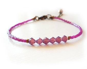 Purple Amethyst Glass Beads Bracelet -  Chic Friendship Bracelet