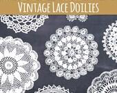 CLIP ART: Vintage Doily Set // Beautiful Lace Doilies // Photoshop Brushes // Vector File EPS // Editable // Pretty Cute // Commercial Use