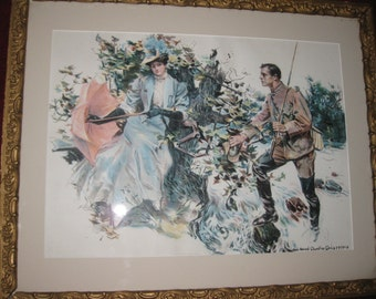 "HOWARD CHANDLER CHRISTY 1906 Fisherman's Luck 17 1/2"" X 21 1/4"" In Antique Frame"