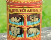Vintage Barnums Animals Tin Can Metal Container Replica 1914 Kitchen Collectable Cottage Biscuit tin Monkey Camel Elephant Rhinoceros