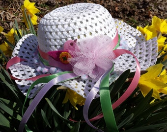 Girls Easter Bonnet, Little Girls Easter Hat, Spring Bonnet,Cottage Chic hat, Girls May Day Hat, Little Girls Flower Bonnet/MYSWEETCHICKAPEA
