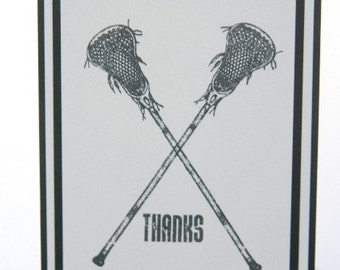 Lacrosse Stick Thank You Coach, Thanks Coach Sports Card, Lacrosse Thanks Note Card, Lax Greeting Card