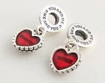 Pandora Sterling Silver Mother and Daughter piece of my Heart Charm