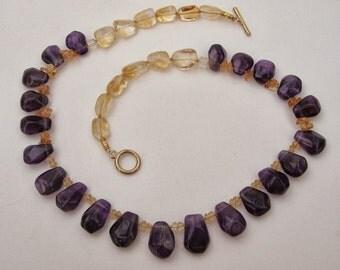 SALE! AMETHYST & CITRINE Quartz Necklace
