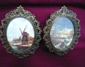 Vintage Italian Brass Frames circa 1970s Matching Pair