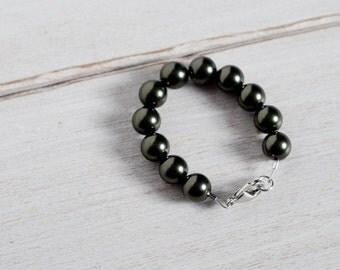 Green Pearl Newborn Bracelet, Swarovski Pearls Bracelet