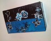 Floral hand painted  Jewelry, Trinket,Storage Box - Blue, Black, White