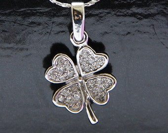 Bridal Necklace, Clove Bridal Necklace, Pendant Necklace, Shamrock Crystal Necklace, Wedding Necklace Silver, Bridal Accessories,