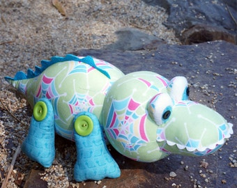 """Pattern """"Crikey the Crocodile"""" Stuffed Toy, Soft Sculpture, Cloth Toy Sewing Pattern by Melly & Me (MM126)"""