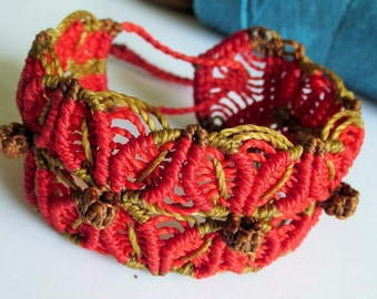 Red & Brown Macrame Friendship Original Bracelet Handmade surf wristband