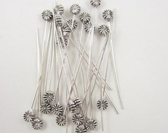 24pcs Head Pin 2inch Daisy Flower Silver Plated (F862)