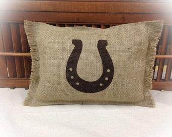 Burlap Pillow w/Horseshoe