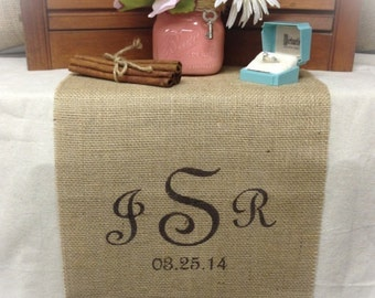 "Burlap Table Runner  12"", 14"" or 15"" wide with Monogram & date - Wedding runner Monogrammed runner Wedding gift Bridal shower gift"