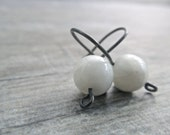Basic Black and White Earrings, Oxidized Sterling Silver, Rainbow Moonstone, Snow, Zen, Minimalist, Winter White - Rootiebirds