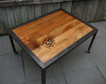 Vintage Industrial Coffee Table with reclaimed Kauri Pine top