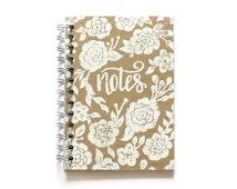 Spiral Notebook with White Ink on Kraft Cardboard - Hand Printed - Linoleum Block Flower Notebook