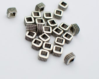 Large Hole Square Beads, Large Hole metal Beads square, square spacer beads 30 pieces 4x6mm Antique Silver Finish 19-4-24