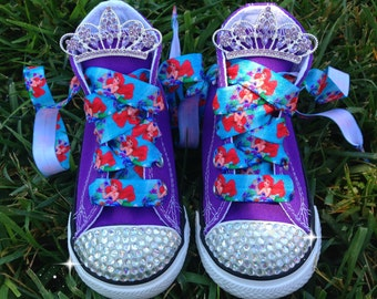 ARIEL SHOES - Little Mermaid Party - Ariel Costume - Ariel birthday outfit - Little Mermaid Birthday - Bling Converse - Infant/Toddler/Youth