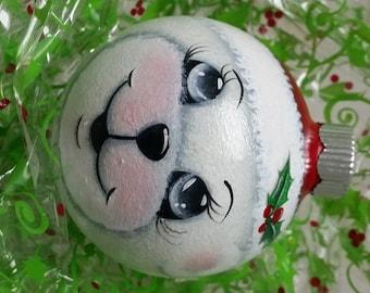 White Santa Teddy Bear Ornament.