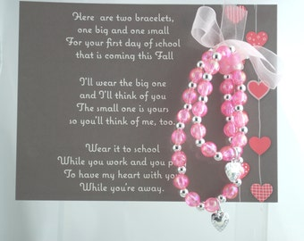Sisters // Twins // Siblings- First Day Of School Mother and Daughter Bracelets