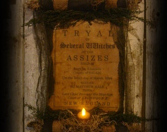 Primitive Witch's Trial Scroll Halloween Decor