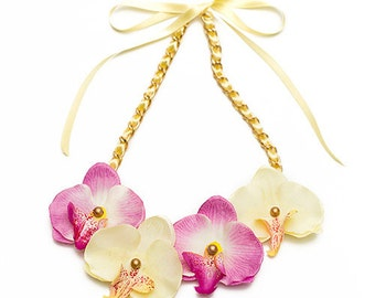 Summer Orchids Pale Yellow/ Mauve Bib fabric necklace