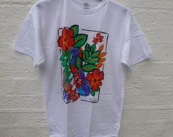 Womens t shirt mary quant clothing 70s t shirt ladies vintage clothing white t shirt flower clothes 70s vintage womens clothing vtg tee top.