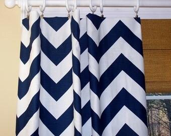 "Chevron Curtains.2"" Wide Chevron.Zig Zag CURTAINS. Premier Fabric. Navy Blue White. Two Drapery Panels. Drapes. Window Treatment."