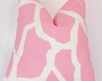 PILLOW COVER . Throw Pillow. Handmade Custom Premier Prints Fabric Accent Pillows 14 16 18 20 24 Light Pink Animal Print