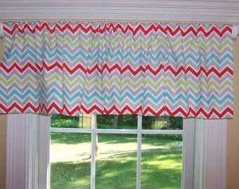"Premier Prints Fabric Zig Zag Chevron Harmony  Blue,  Red & White 52"" Wide x 16"" Long Valance One Curtain Panel"