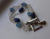 Sterling Silver Bracelet with Blue Chalcedony and Lapis Lazuli