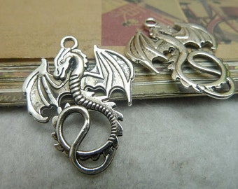 20pcs 28x35mm Antique Silver Lovely Flying Dragon Charms Pendant C7000