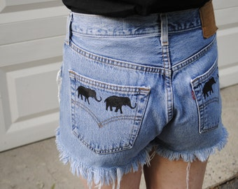 High waisted medium blue elephant shorts
