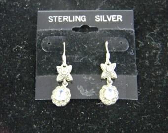 Elegant, Sterling Silver 925 Flower Pretty Earrings #5767