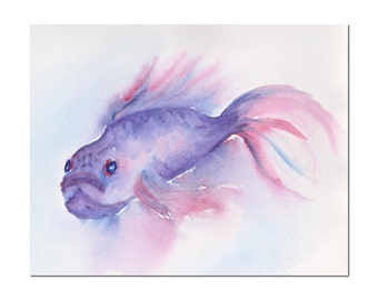 violet fish original watercolor painting size 10.63 x 8.5 in