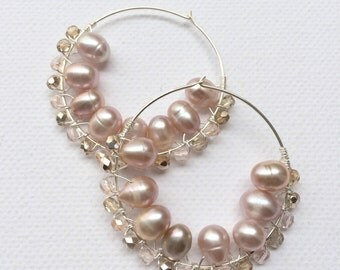 Brides and bridesmaids Fresh water Champagne Pearls wire wrapped earrings in Sterling Silver hoops