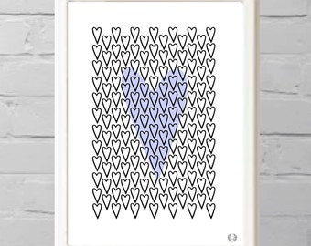 Hearts in Purple Illustration Print