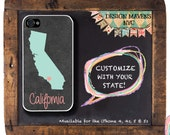 Personalized iPhone Case, State Love California iPhone Case, iPhone 4, iPhone 4s, iPhone 5, iPhone 5c, iPhone 6, Phone Cover, Phone Case