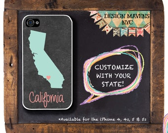 California iPhone Case, Personalized iPhone Case, iPhone 4, iPhone 4s, iPhone 5, iPhone 5s, iPhone 5c, iPhone 6, Phone Cover, Phone Case