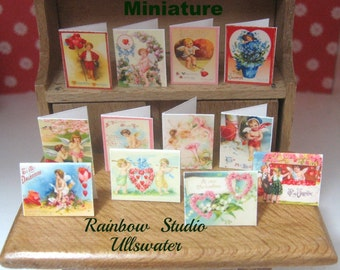 dollhouse victorian inspired  valentine cards x 12 dollhouse display lakeland artist new