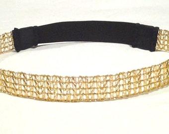 FREE SHIPPING only for USA orders -  Gold Mesh Headband - Womens Headband-Girls- Teens-Trendy Headband