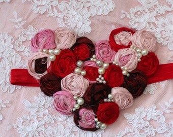 Valentine Heart Headband, Valentines Baby Headband, Children Accessory, Valentines Accessory, Kids Headbands, Red and Pink Headband