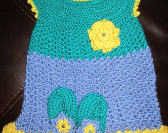 Emerald, Purple,and Yellow Baby dress and booties set.
