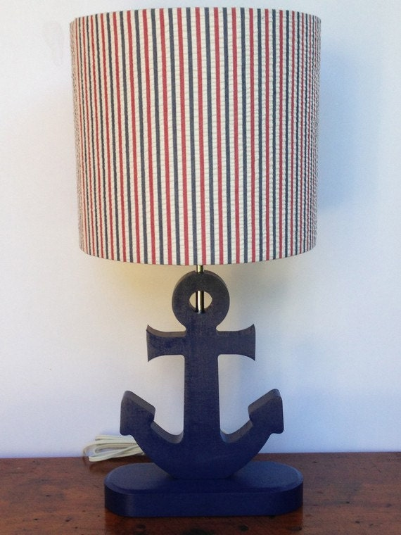 small red navy blue white stripe drum lamp by perrelledesigns. Black Bedroom Furniture Sets. Home Design Ideas