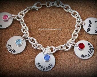 Mother's Day Hand stamped personalized charm mom/grandma charm bracelet birthstones